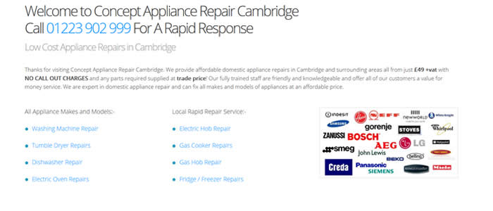 new website for appliance repair cambridge