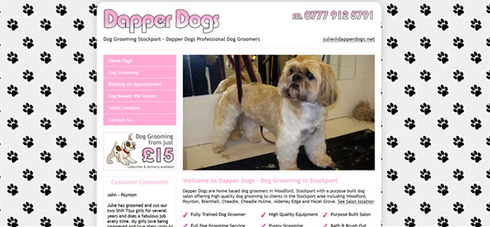 web design for dog grooming wilmslow
