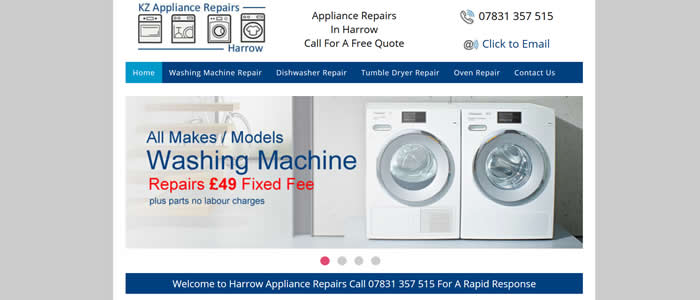 web design for appliance repairs braintree essex
